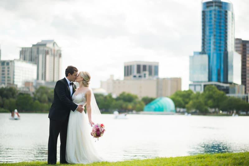 lake eola couple wedding potrait