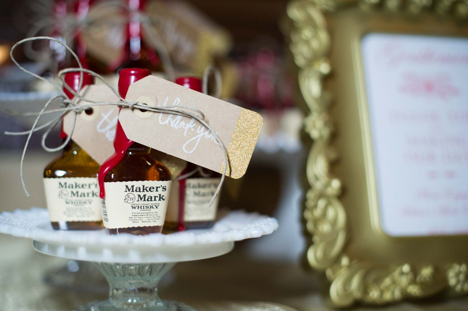 mini Maker's Mark wedding guest favors