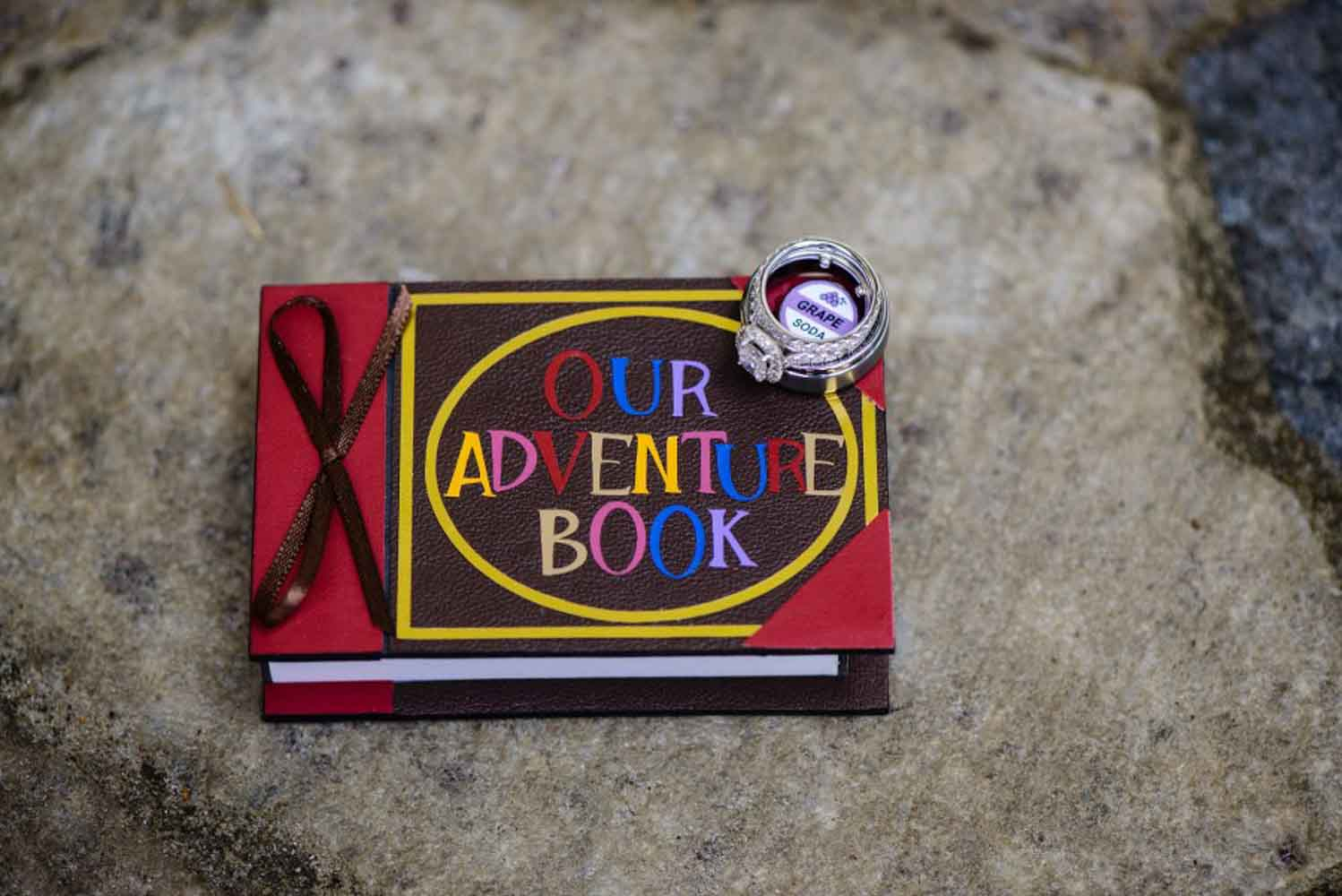 "notebook for wedding that says ""our adventure book"