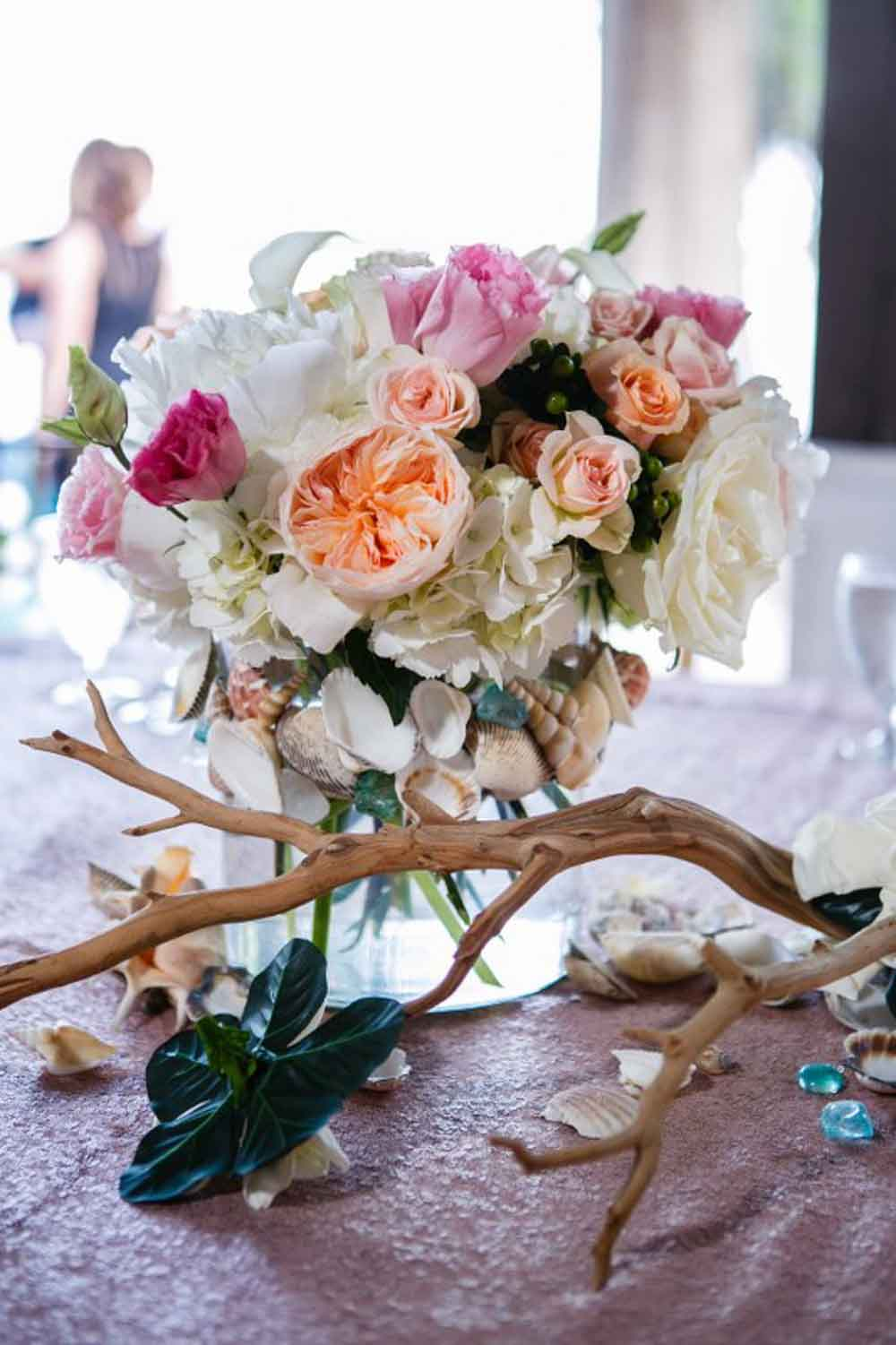 floral arrangement with drift wood for Paradise Cove wedding