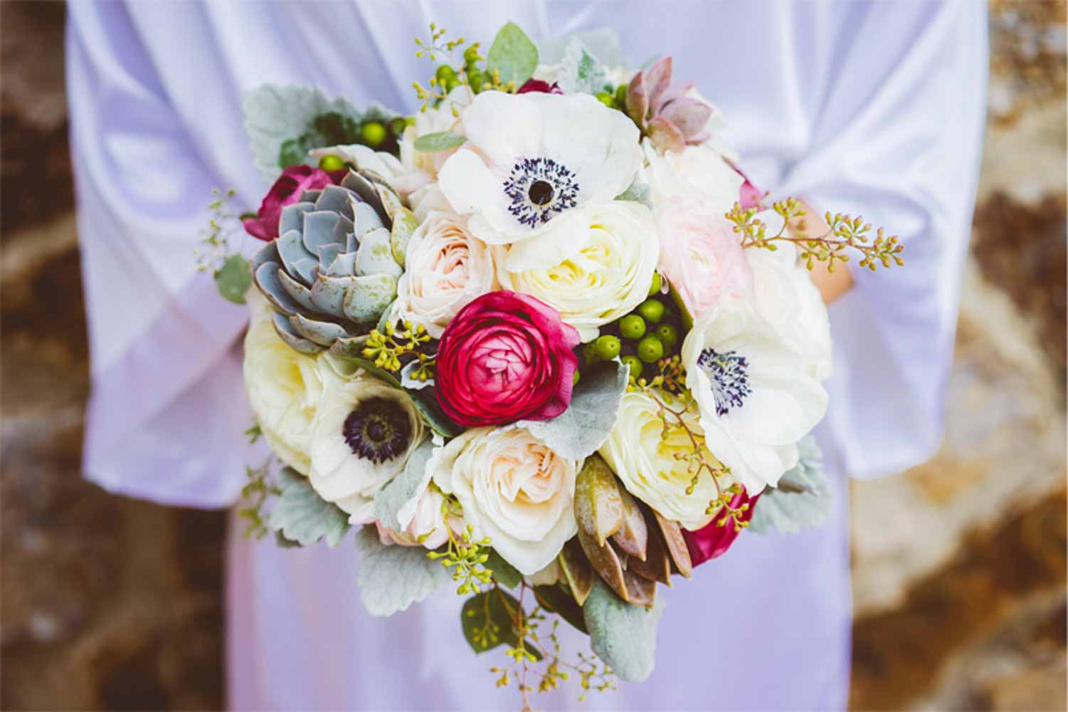 elegant bridal bouquet with articokes for rustic wedding