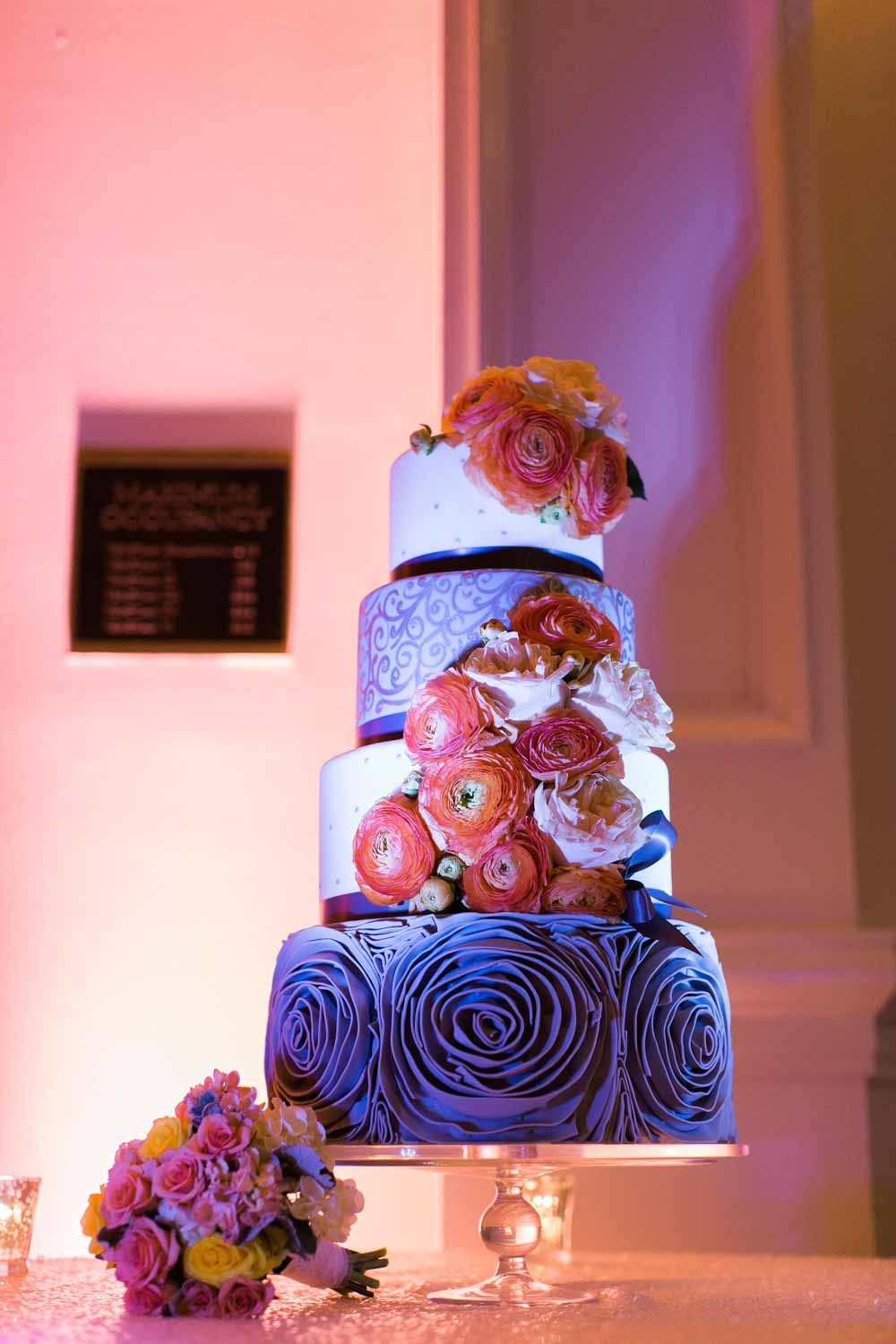 uplit purple and pink wedding cake