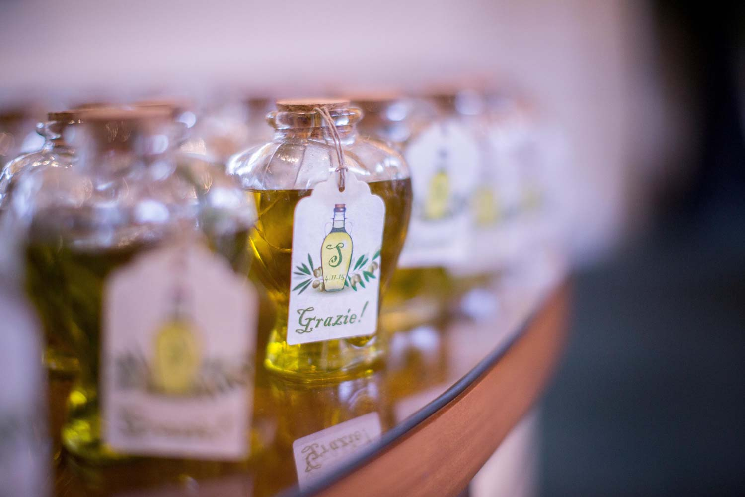 olive oil wedding favors with gracie tags