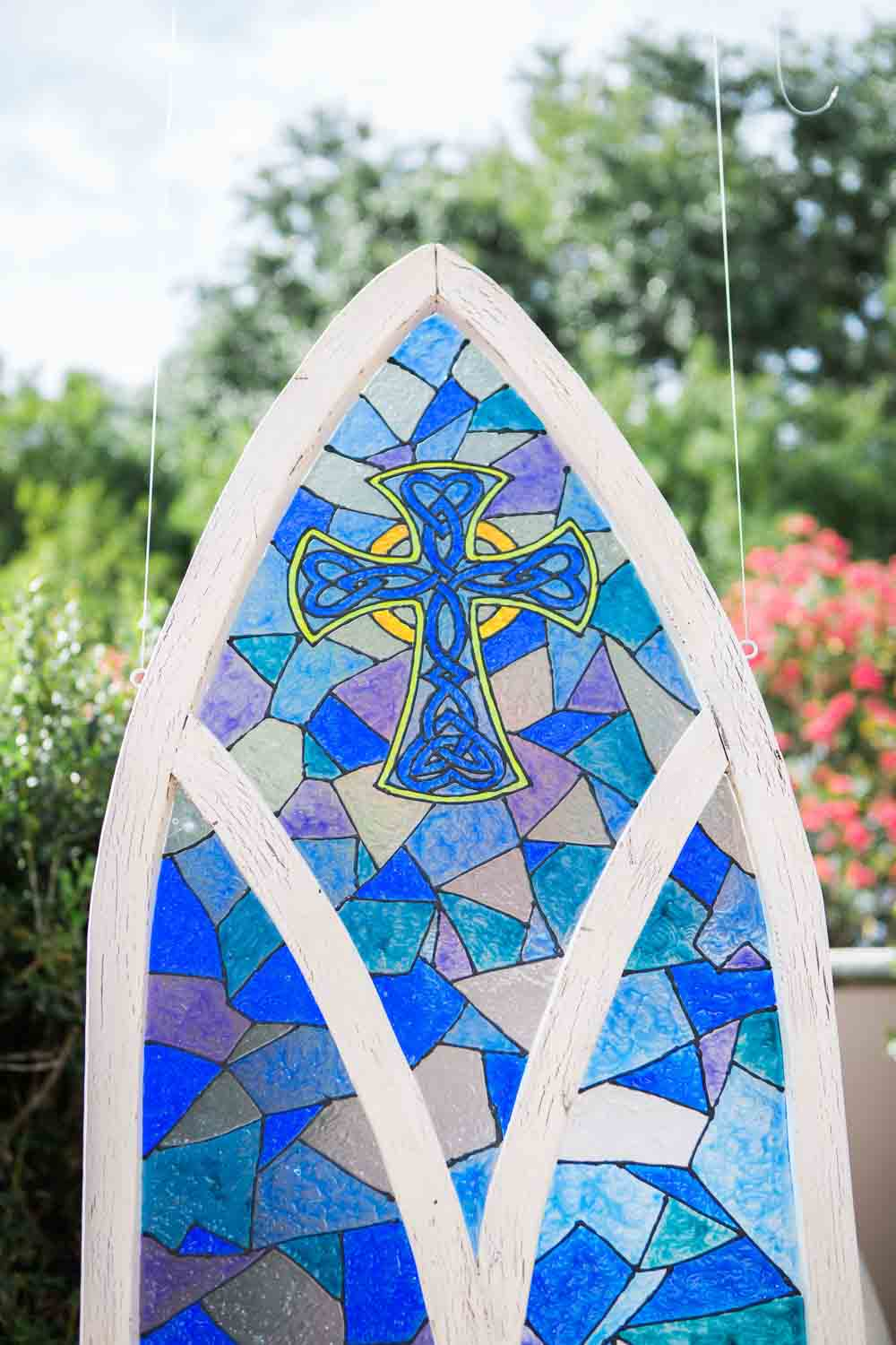 blue stain glass for outside for wedding ceremony