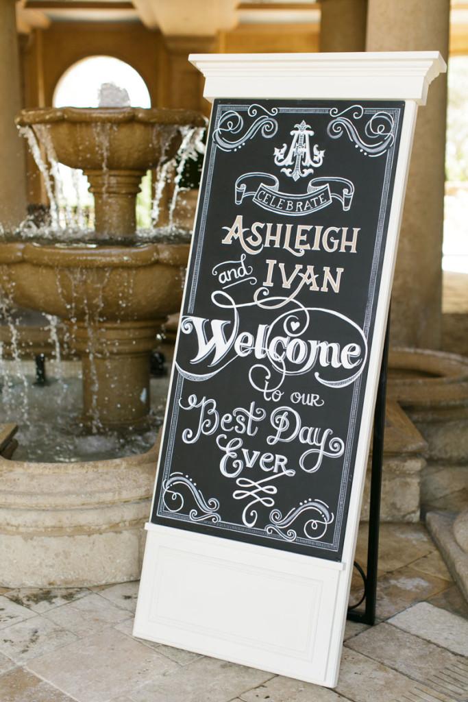 large chalkboard wedding welcome sign on easel