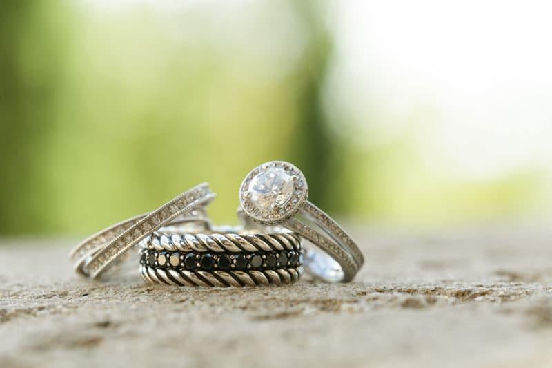 wedding band and round halo engagement ring