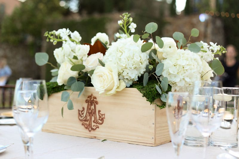 white hydrangea and rose floral centerpiece