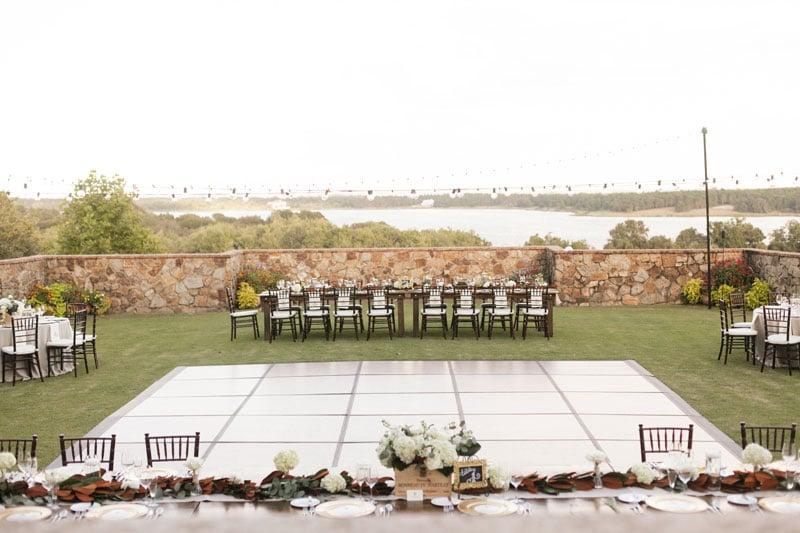 outdoor reception space and dance floor
