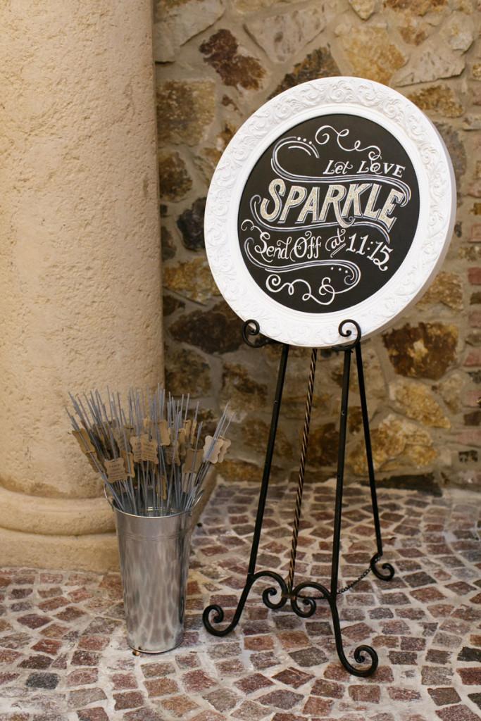 chalkboard let love sparkle send off sign