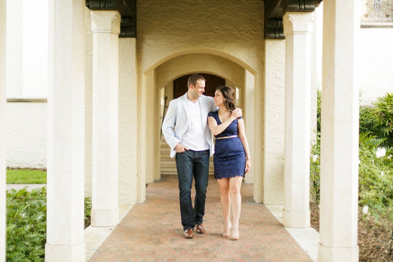 couple walking through covered breezeway