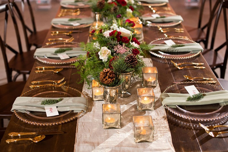 wedding reception farmtable with mercury glass and pinecones