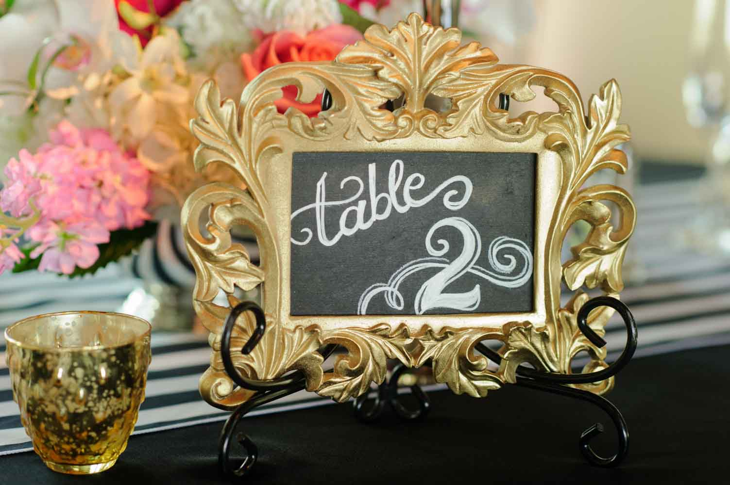 chalkboard table number in gold frame
