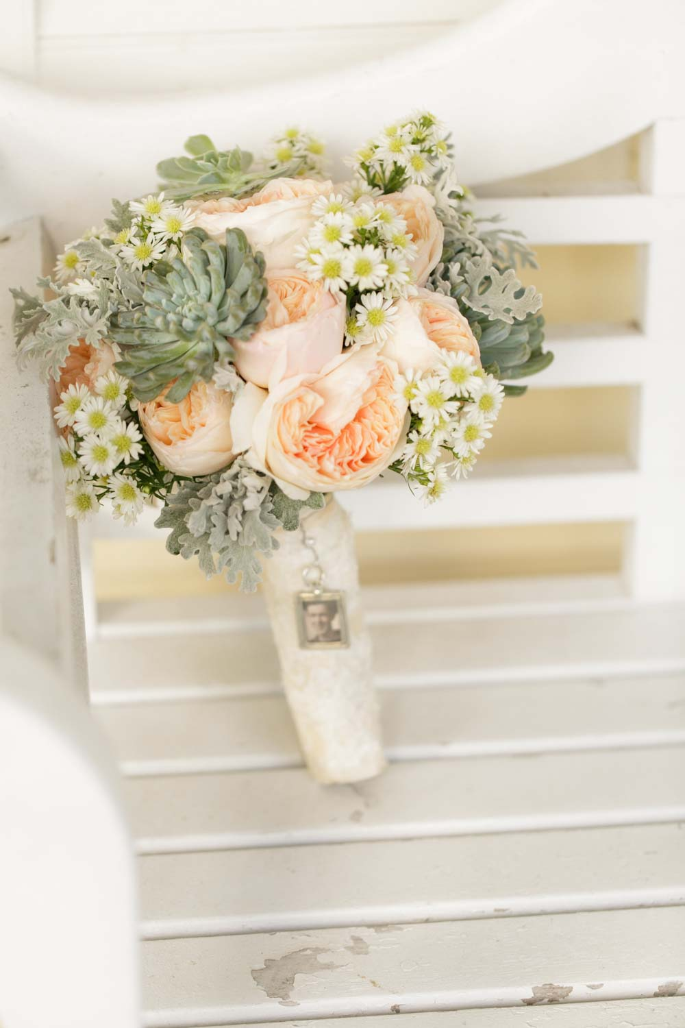 blush peony and succulent bridal bouquet