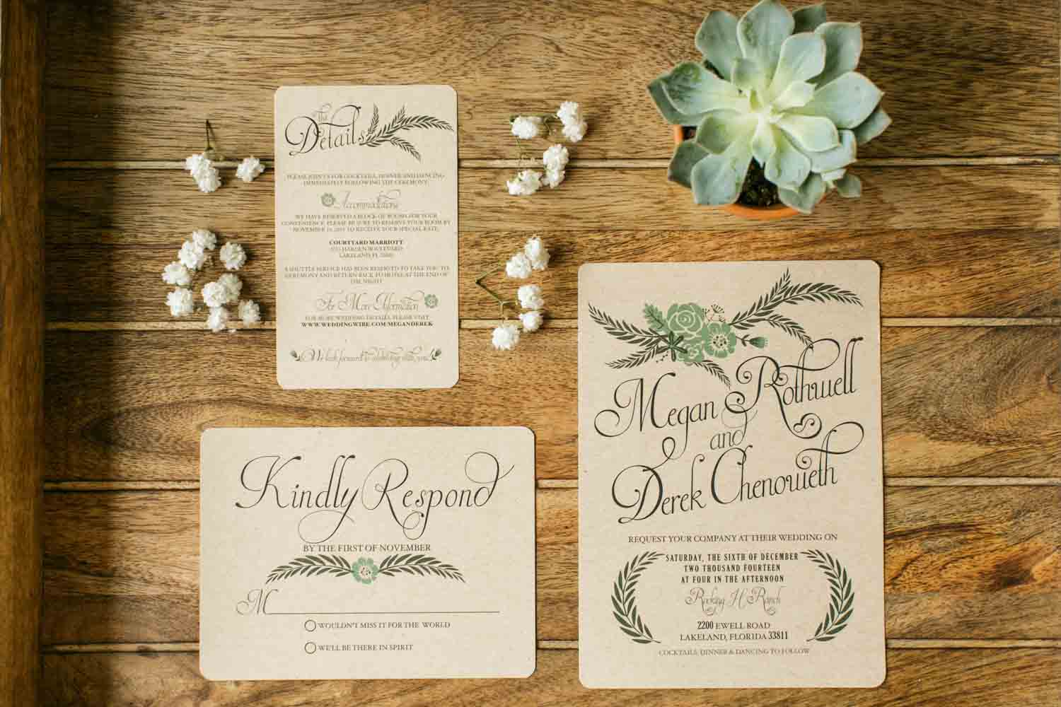 succulent and brown wedding invitations