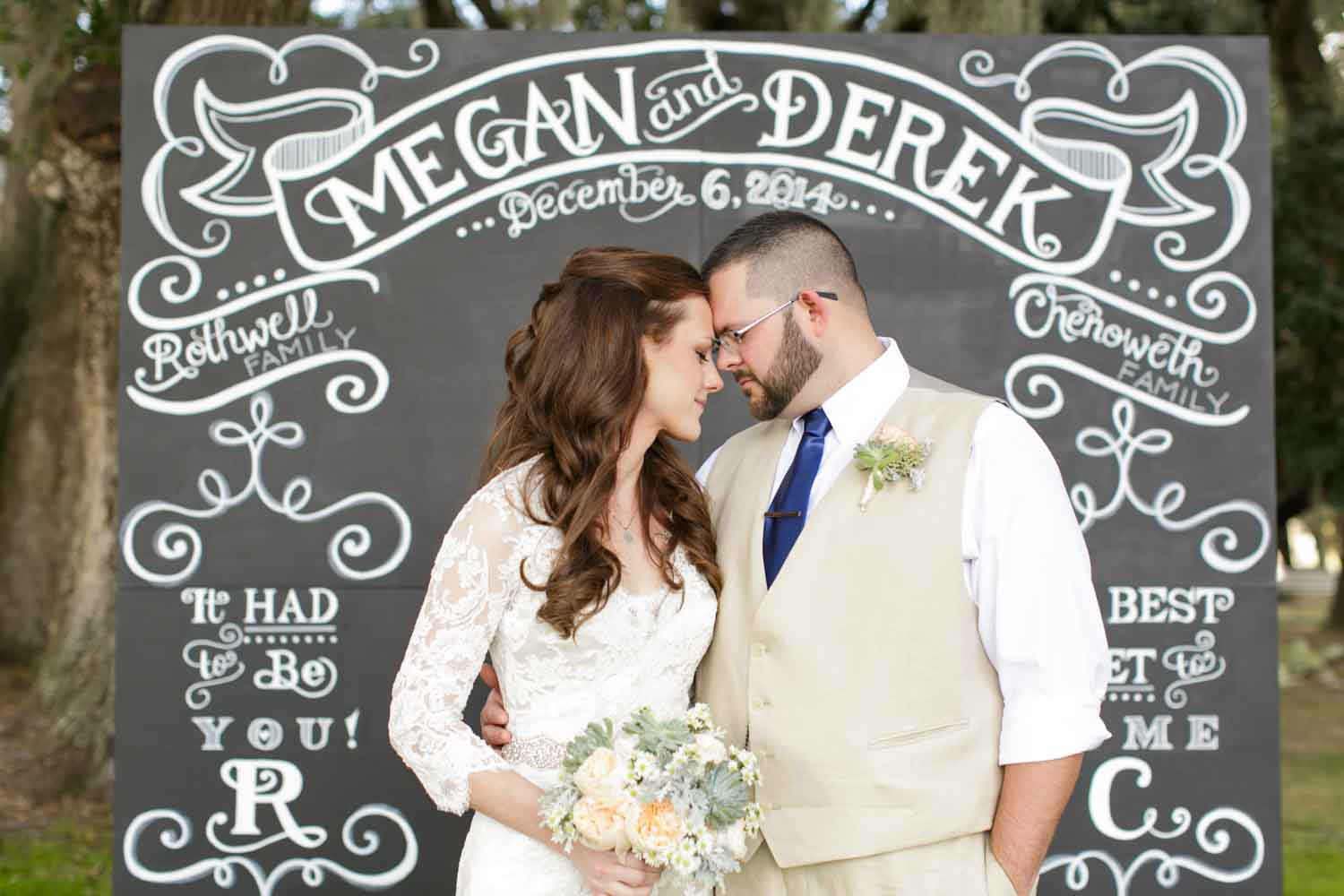 bride and groom standing in front of chalkboard backdrop with their name on it