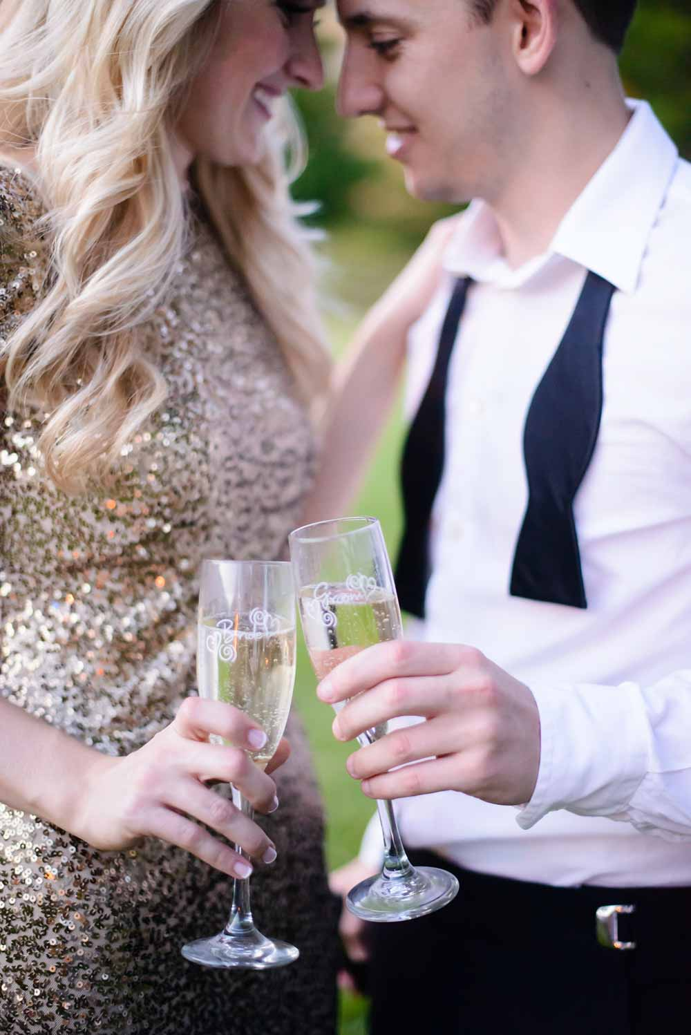 couple doing a champagne toast