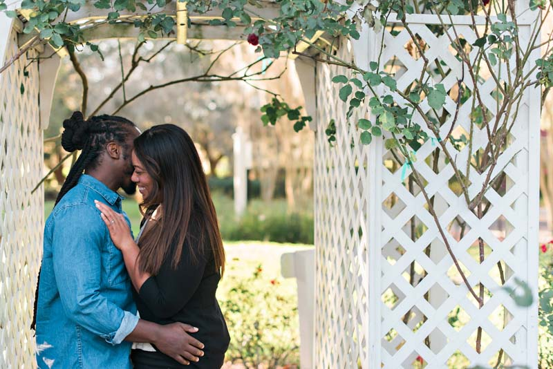 couple laughing for engagement session