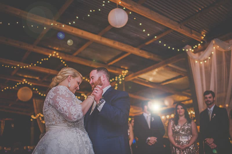 couple dancing at Birdsong Barn reception space