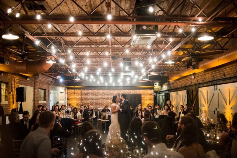 couple dancing first dance at Winter Park Farmers Market wedding