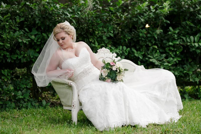 bride on vintage sofa