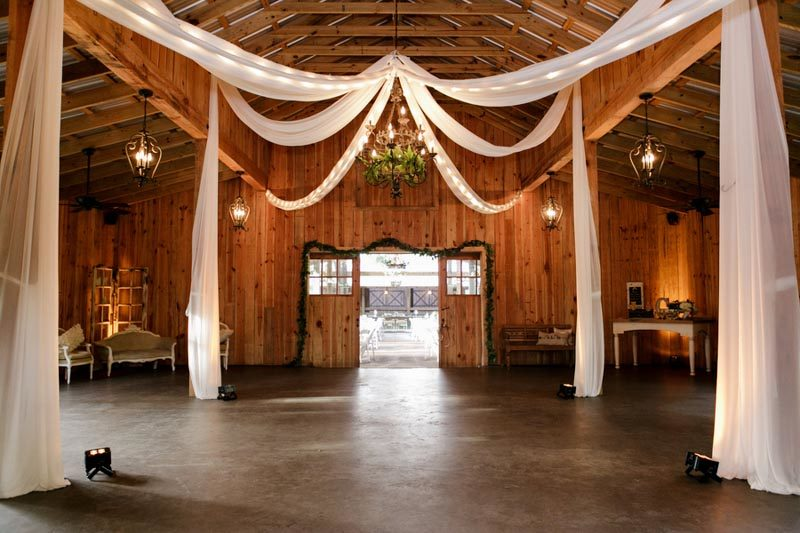 white draping for dance floor