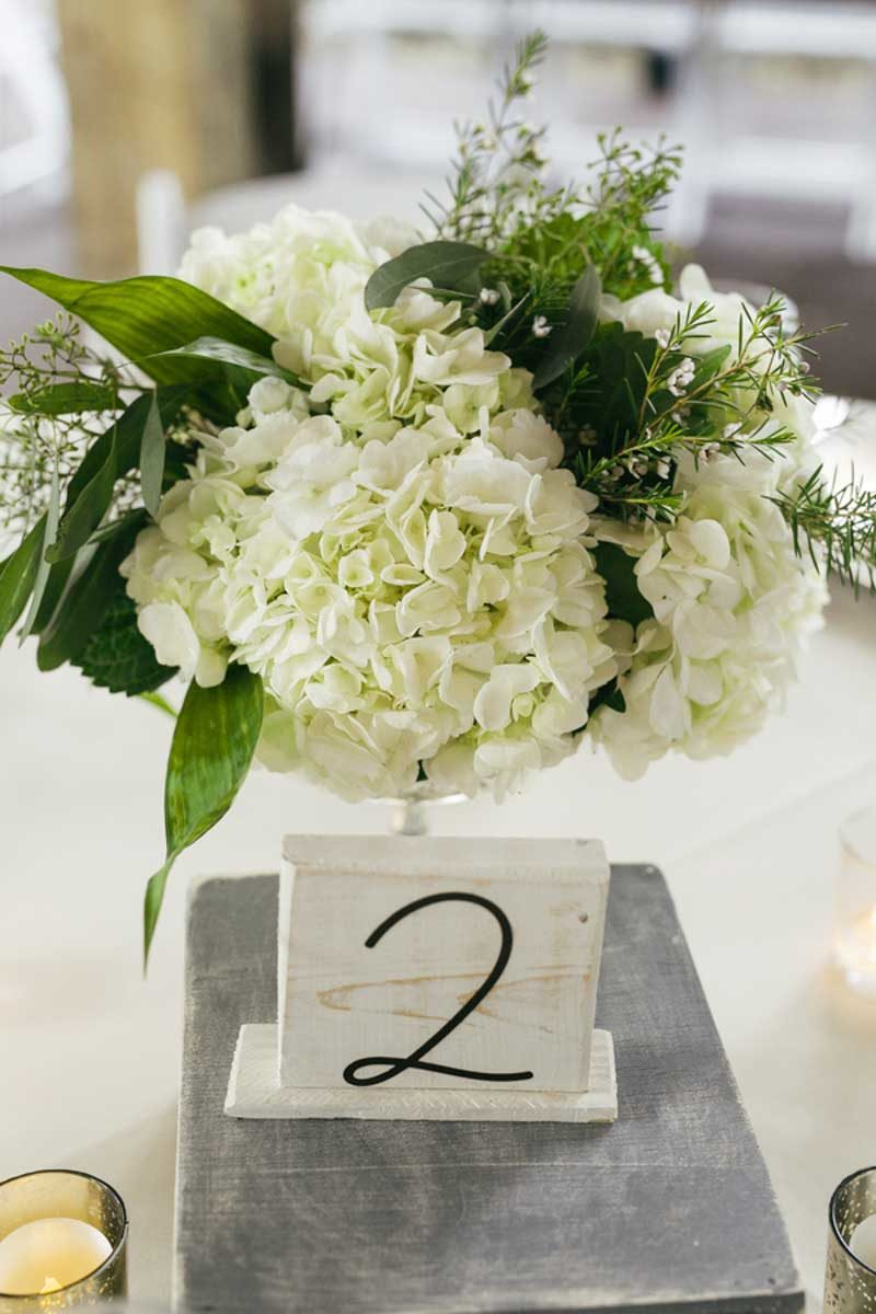 white and green floral centerpiece