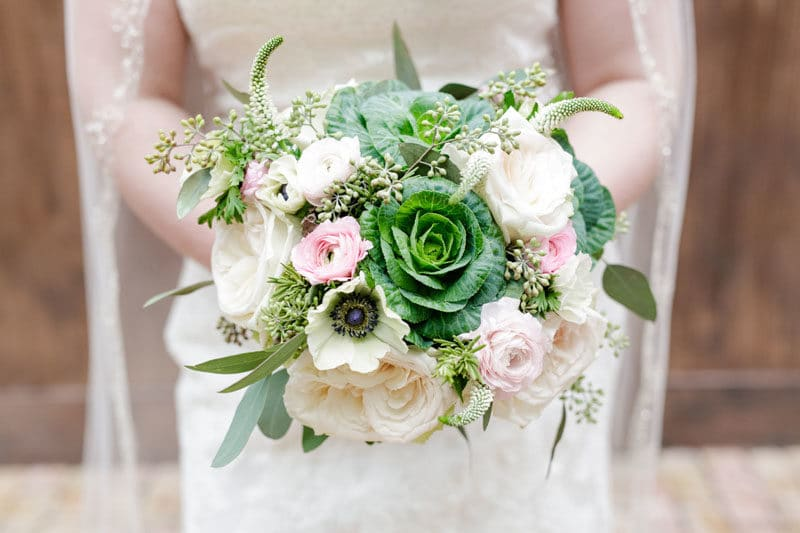 bridal bouquet with cabbage
