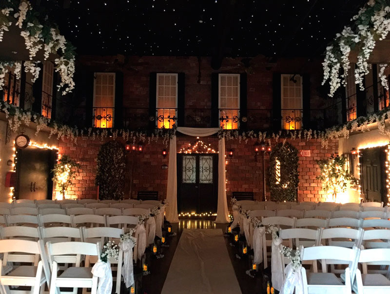brick building courtyard for Gallery J wedding ceremony
