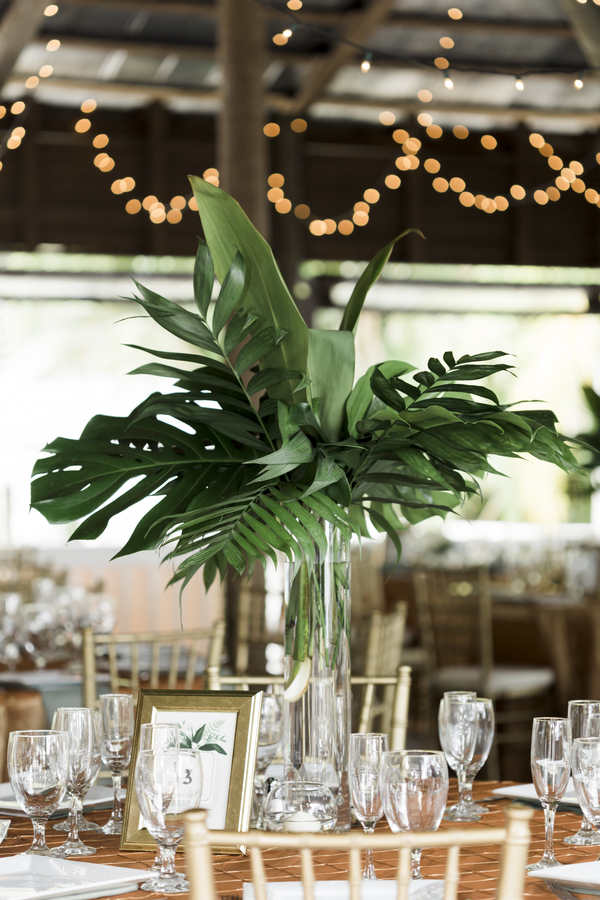 large tropical leave wedding centerpiece for Paradise Cove wedding
