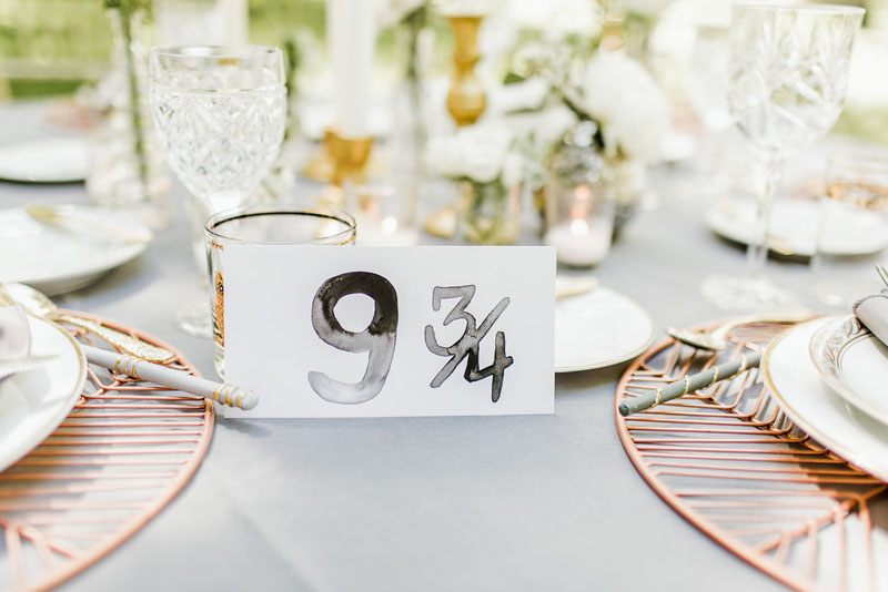 Harry Potter wedding table number 9 3/4