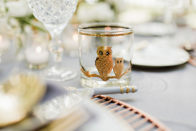 glass tumbler with two gold owls on table