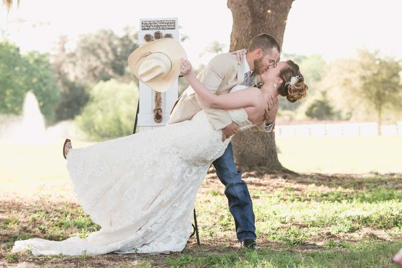 brides and grooms first kiss