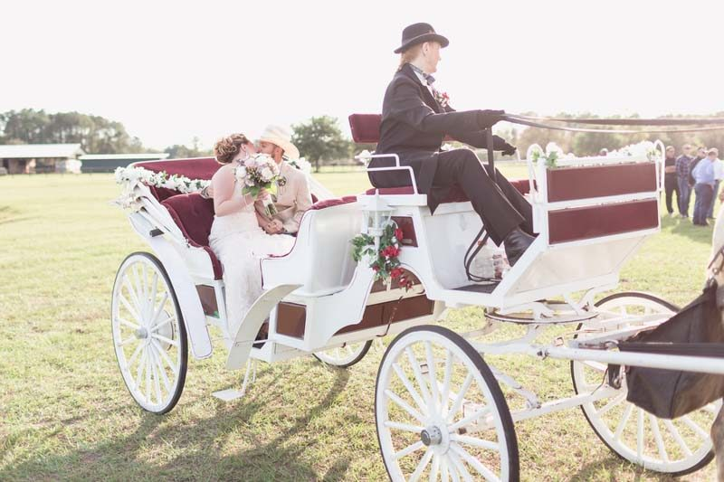 couples in horse and carriage after getting married