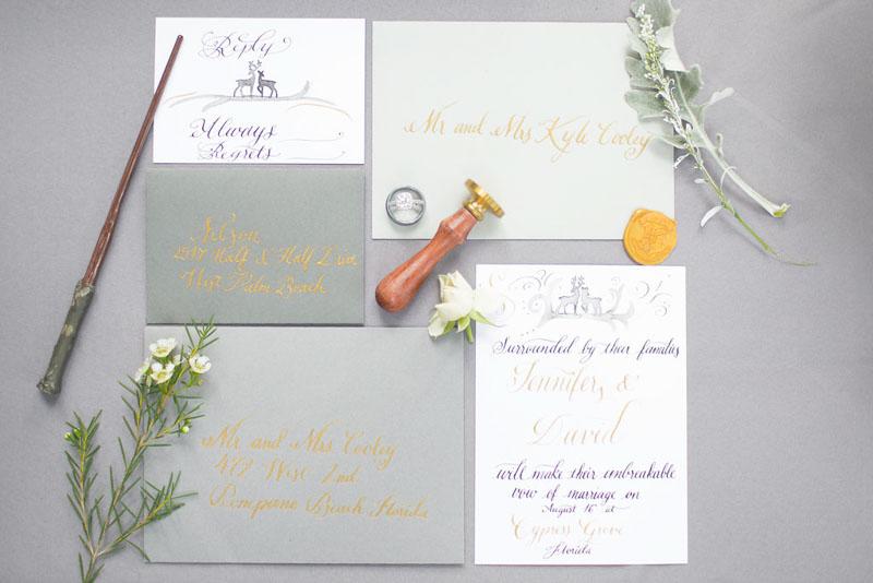calligraphy wedding invitations for Harry Potter wedding shoot