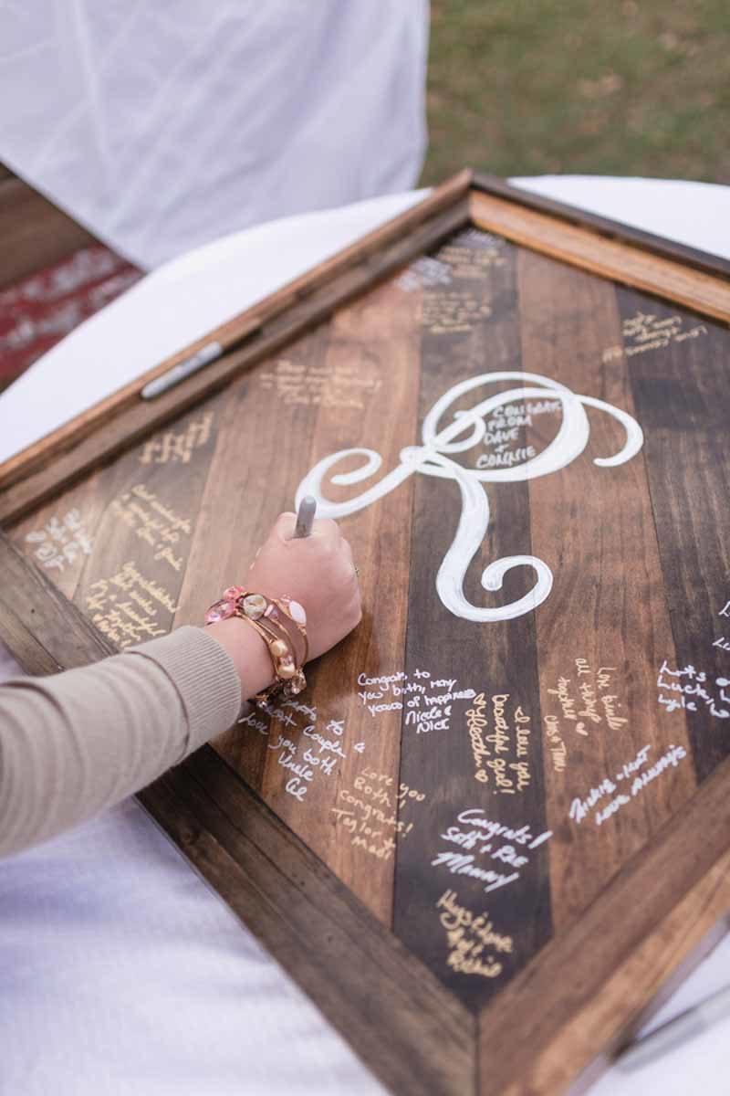 rustic guestbook plaque for Orlando Barn wedding