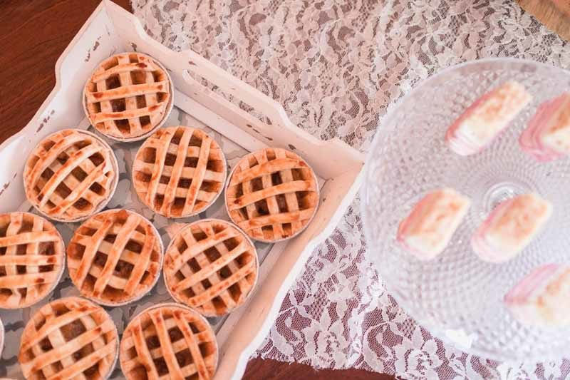 mini pies on tray for wedding