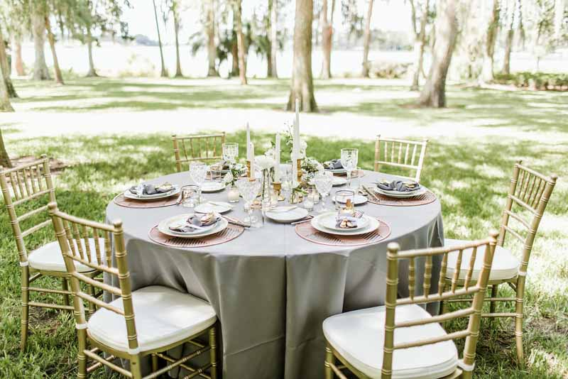 silver and gold wedding reception table at Cypress Grove Park