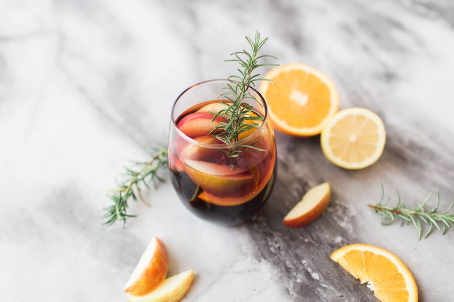 cocktail with orange slices and fruit