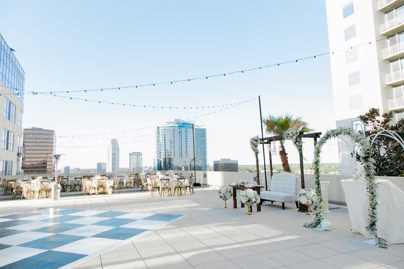Wedding reception at The Balcony Orlando overlooking Downtown Orlando