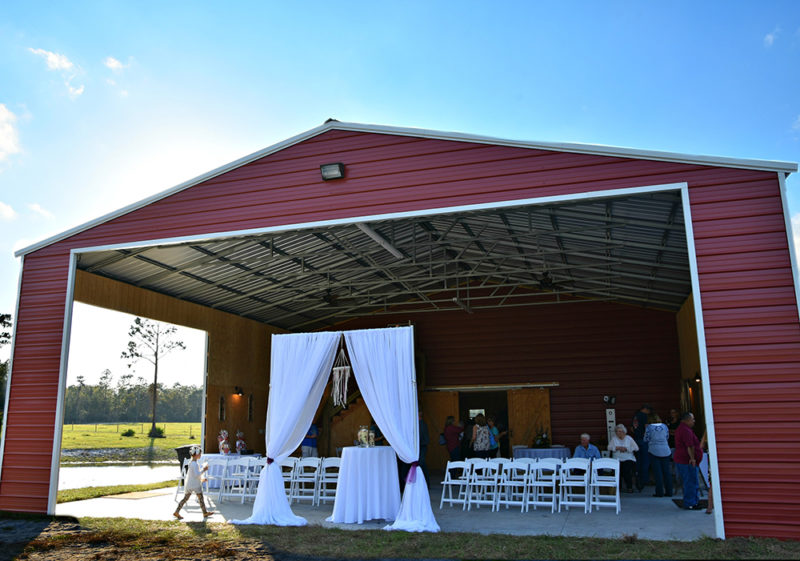 outside ceremony and cocktail space of Diamond L Venue