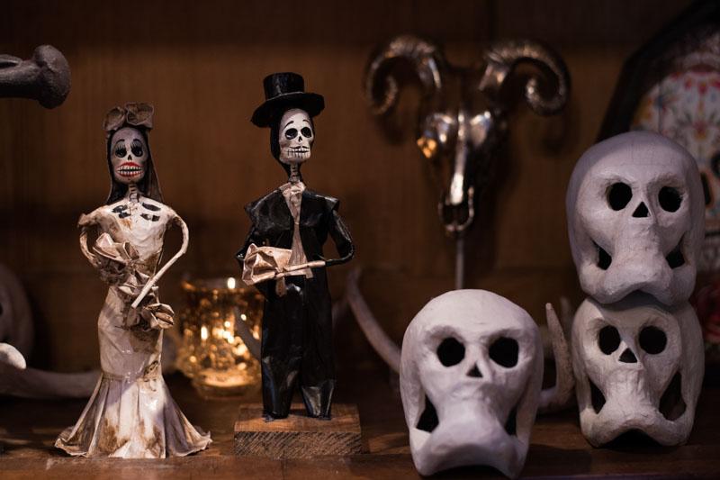 skeleton bride and groom on bookshelf