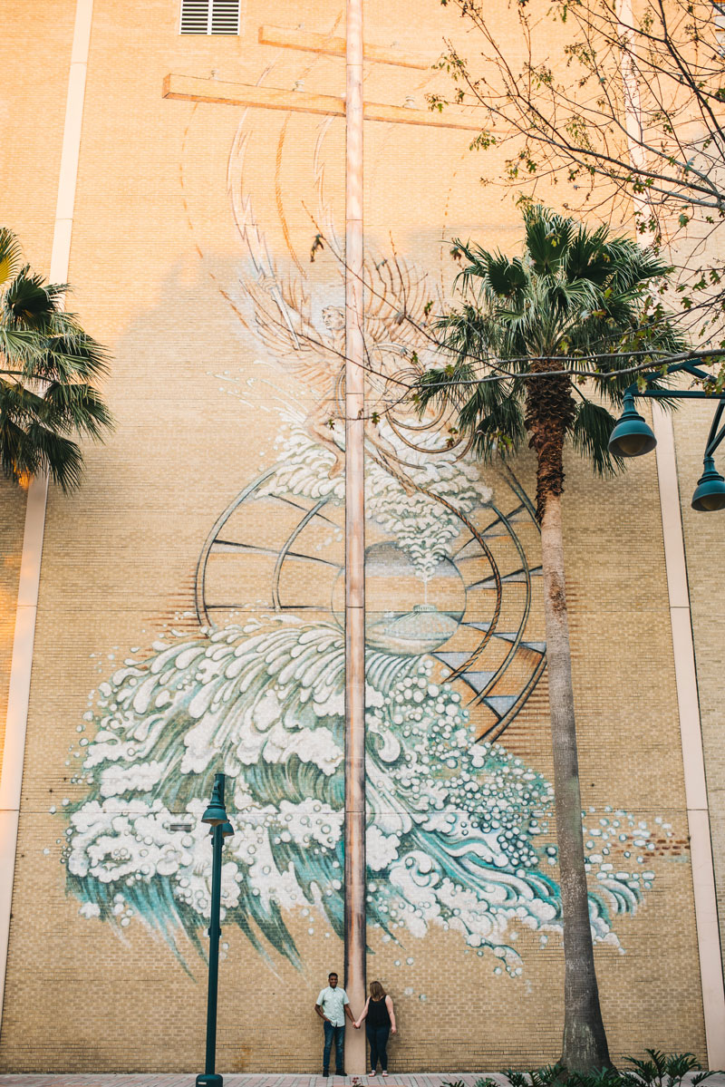 Ocean Waves wall mural on At&t building in Downtown Orlando