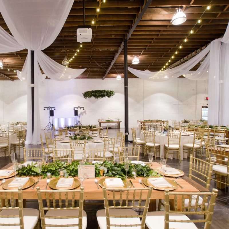 white draping at a Haus 820 wedding reception