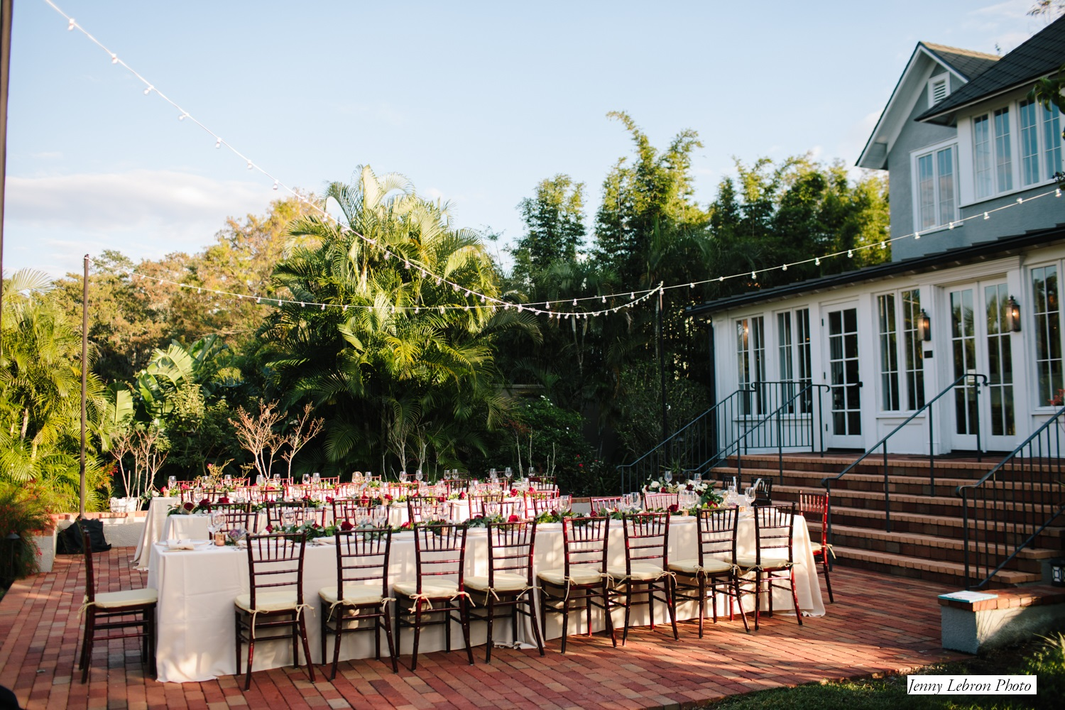 rectangle reception tables at outdoor reception space at The Capen House