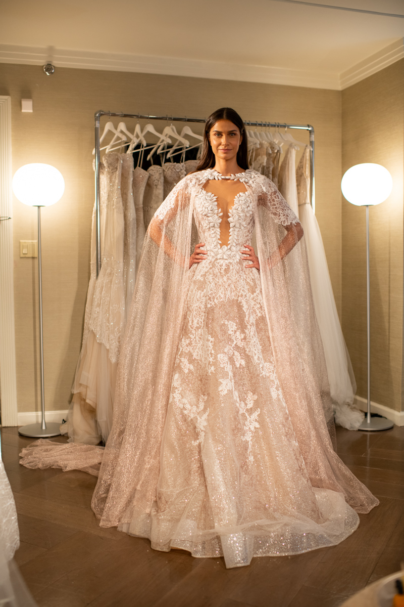 Model in Blush lace applique wedding gown by Netta BenShabu