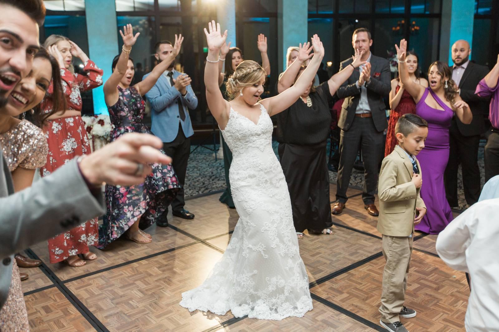 bride on dance floor dancing