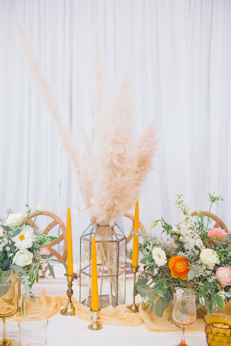 pampus grass wedding centerpiece in glass container