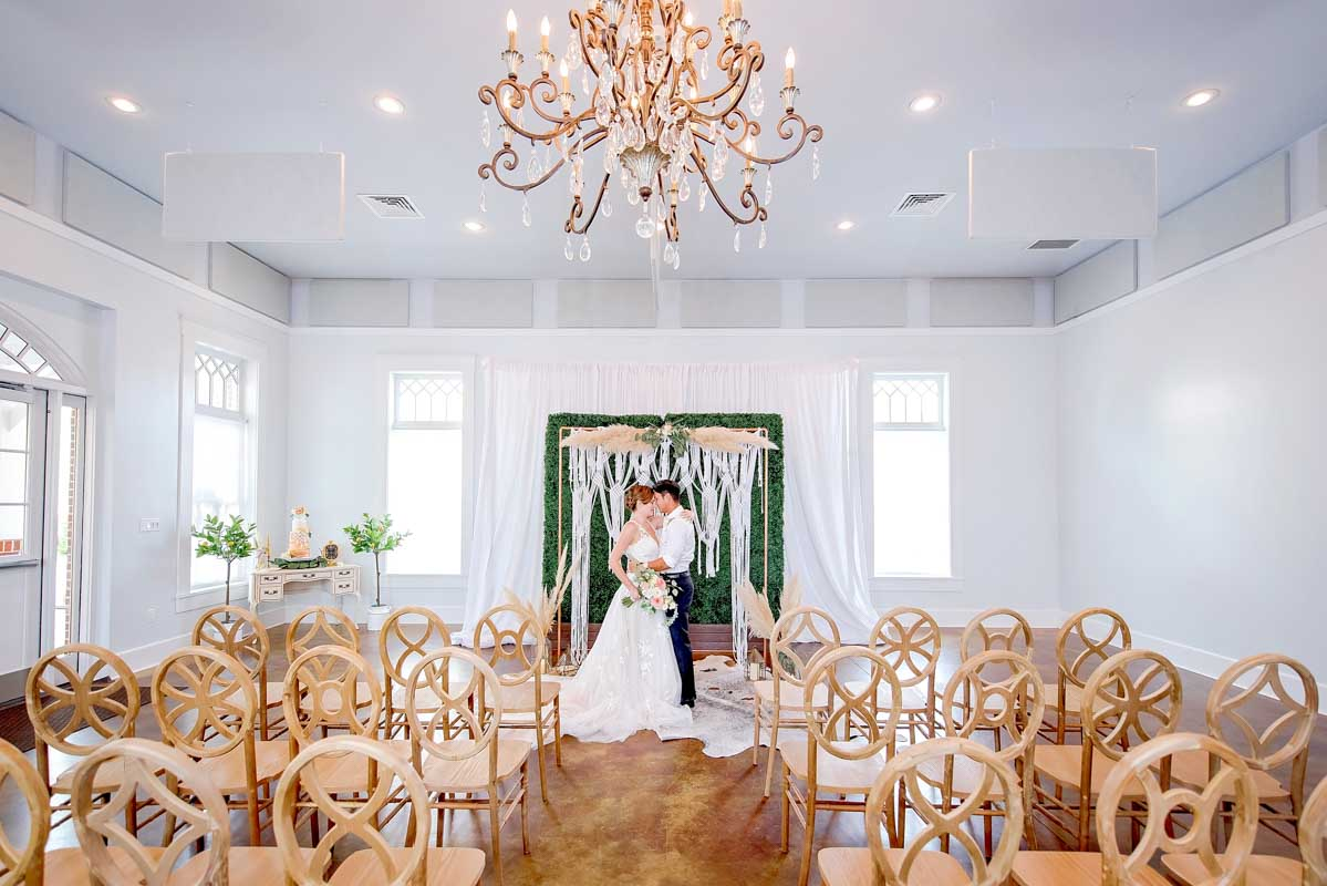 boho inspired wedding ceremony set up at Heller  Hall