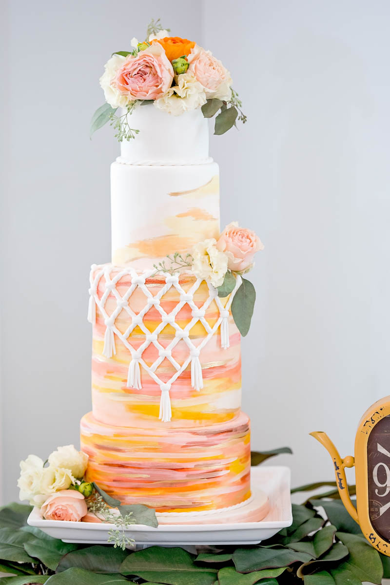 vibrant wedding cake with macrame details