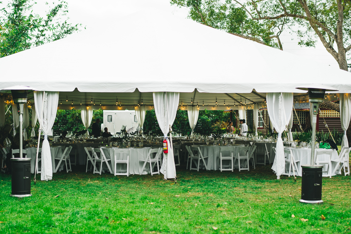 white tent at The Acre Orlando for wedding reception